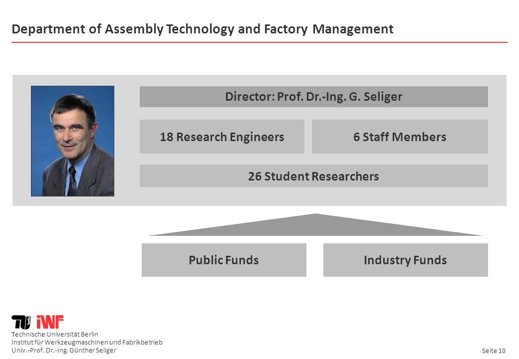 Technische Universität Berlin Institut für Werkzeugmaschinen und Fabrikbetrieb Univ.-Prof. Dr.-Ing. Günther Seliger Seite 10 Department of Assembly Te