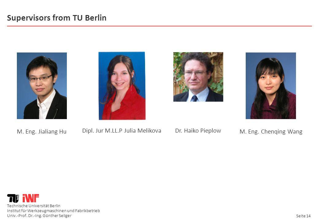 Technische Universität Berlin Institut für Werkzeugmaschinen und Fabrikbetrieb Univ.-Prof. Dr.-Ing. Günther Seliger Seite 14 Supervisors from TU Berli