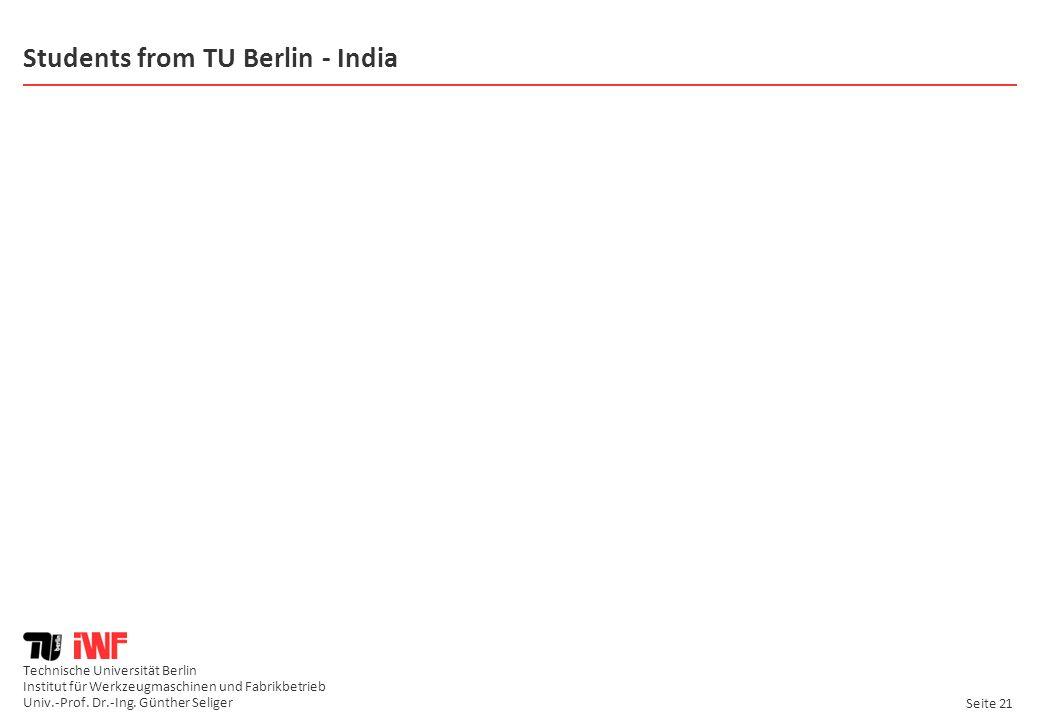 Technische Universität Berlin Institut für Werkzeugmaschinen und Fabrikbetrieb Univ.-Prof. Dr.-Ing. Günther Seliger Seite 21 Students from TU Berlin -