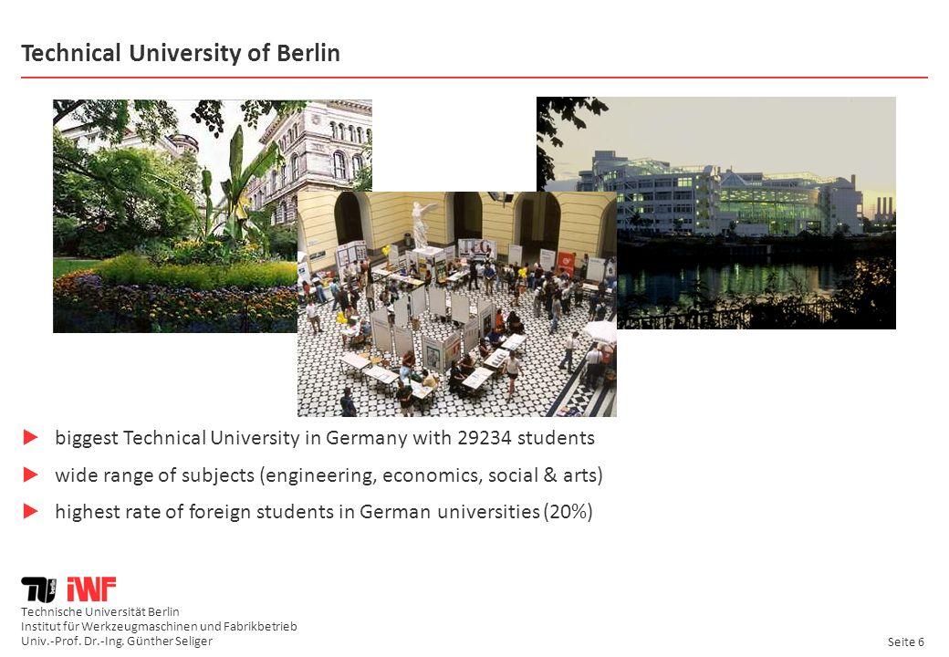 Technische Universität Berlin Institut für Werkzeugmaschinen und Fabrikbetrieb Univ.-Prof. Dr.-Ing. Günther Seliger Seite 6 Technical University of Be