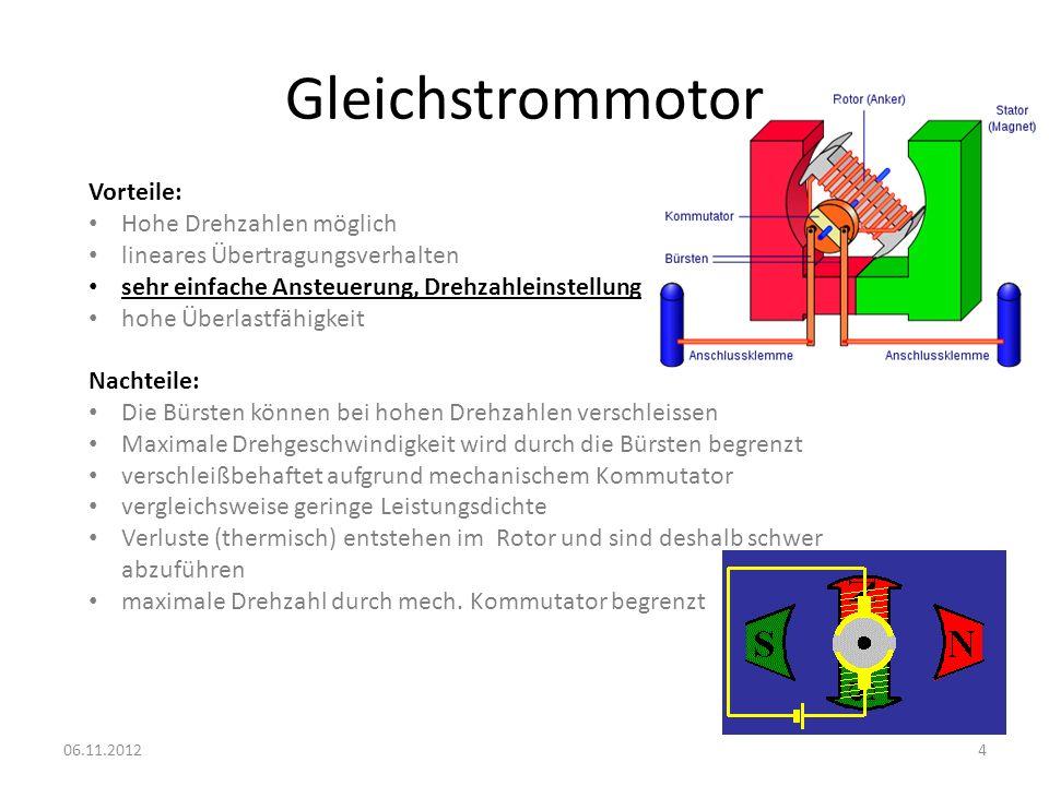 Gleichstrommotor 06.11.20124 Vorteile: Hohe Drehzahlen möglich lineares Übertragungsverhalten sehr einfache Ansteuerung, Drehzahleinstellung hohe Über
