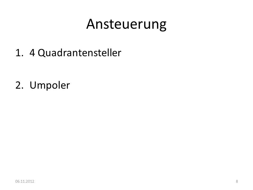 4 Quadrantensteller Nachteile: Teuer Großer Platzbedarf 06.11.20129