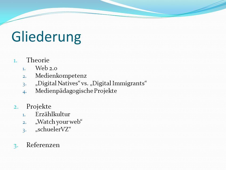 Web 2.0 Weiterentwicklung des alten Internets Onlinenutzung 6,5% (1998) - 67,1%(2009) 2.0 = Überarbeitete Version Übergang vom Betrachter zum Produzenten Facebook, studivz, wikipedia, twitter,… Theorie - Web 2.0 - Medienkompetenz -Digital Natives vs Digital Immigrants -Medienpäd.