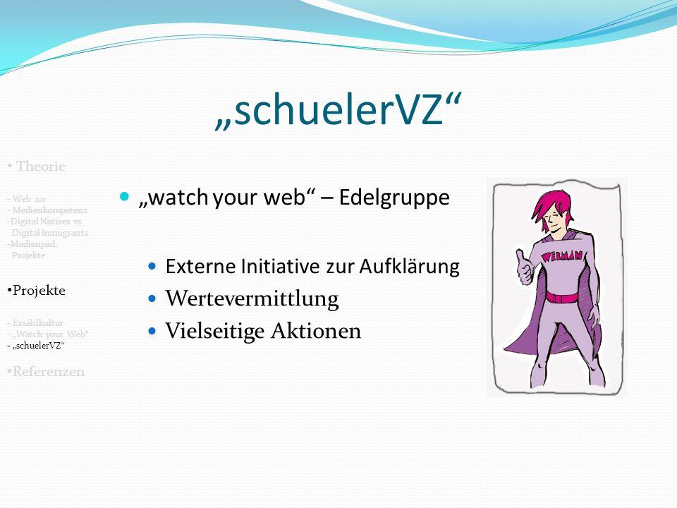 schuelerVZ watch your web – Edelgruppe Externe Initiative zur Aufklärung Wertevermittlung Vielseitige Aktionen Theorie - Web 2.0 - Medienkompetenz -Digital Natives vs Digital Immigrants -Medienpäd.