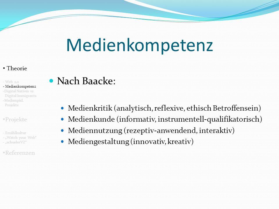 Medienkompetenz Nach Baacke: Medienkritik (analytisch, reflexive, ethisch Betroffensein) Medienkunde (informativ, instrumentell-qualifikatorisch) Mediennutzung (rezeptiv-anwendend, interaktiv) Mediengestaltung (innovativ, kreativ) Theorie - Web 2.0 - Medienkompetenz -Digital Natives vs Digital Immigrants -Medienpäd.