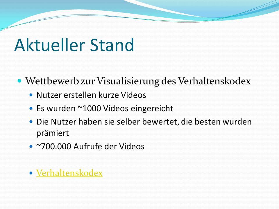 Aktueller Stand Wettbewerb zur Visualisierung des Verhaltenskodex Nutzer erstellen kurze Videos Es wurden ~1000 Videos eingereicht Die Nutzer haben sie selber bewertet, die besten wurden prämiert ~700.000 Aufrufe der Videos Verhaltenskodex