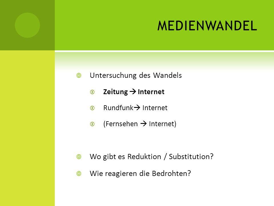 MEDIENWANDEL Untersuchung des Wandels Zeitung Internet Rundfunk Internet (Fernsehen Internet) Wo gibt es Reduktion / Substitution? Wie reagieren die B