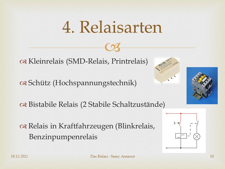 Kleinrelais (SMD-Relais, Printrelais) Schütz (Hochspannungstechnik) Bistabile Relais (2 Stabile Schaltzustände) Relais in Kraftfahrzeugen (Blinkrelais