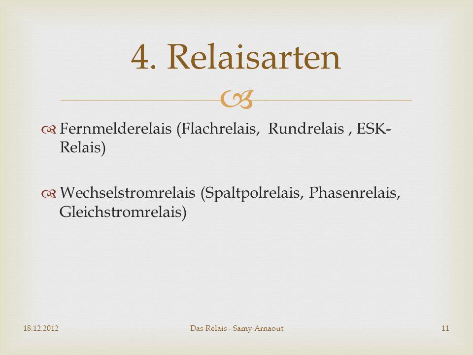 Fernmelderelais (Flachrelais, Rundrelais, ESK- Relais) Wechselstromrelais (Spaltpolrelais, Phasenrelais, Gleichstromrelais) 18.12.2012Das Relais - Sam