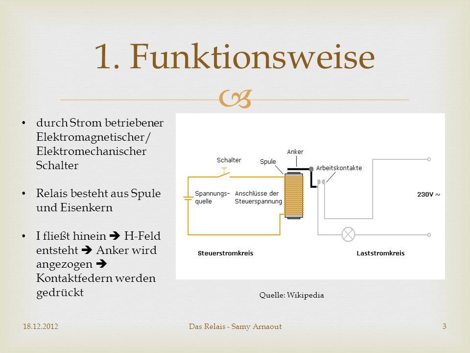 2 Arten von Relais: Ruhestromrelais (im Ruhezustand stromdurchflossen) Arbeitsstromrelais (im Ruhezustand stromlos) Das Relais - Samy Arnaout 2.
