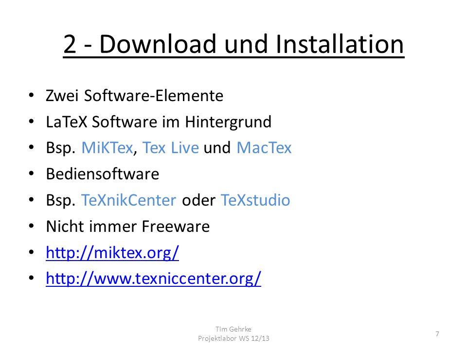 2 - Download und Installation Zwei Software-Elemente LaTeX Software im Hintergrund Bsp.