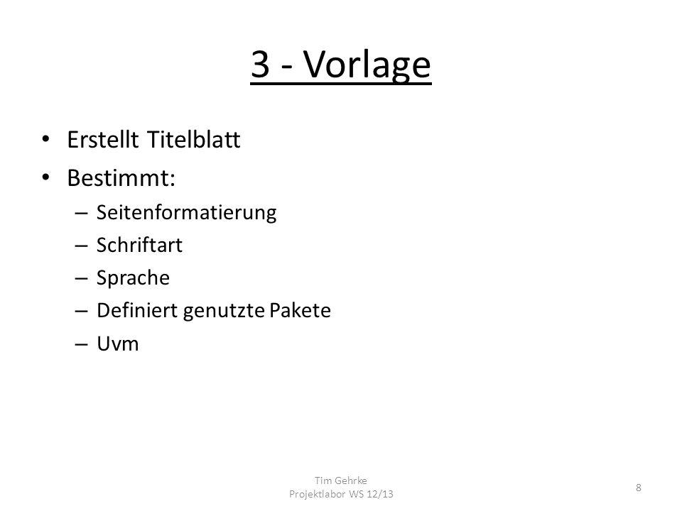 3 - Vorlage Erstellt Titelblatt Bestimmt: – Seitenformatierung – Schriftart – Sprache – Definiert genutzte Pakete – Uvm Tim Gehrke Projektlabor WS 12/13 8