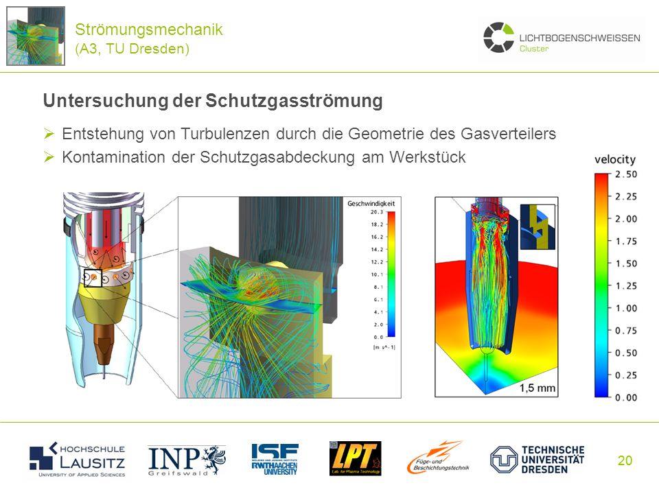 20 Untersuchung der Schutzgasströmung Entstehung von Turbulenzen durch die Geometrie des Gasverteilers Kontamination der Schutzgasabdeckung am Werkstü