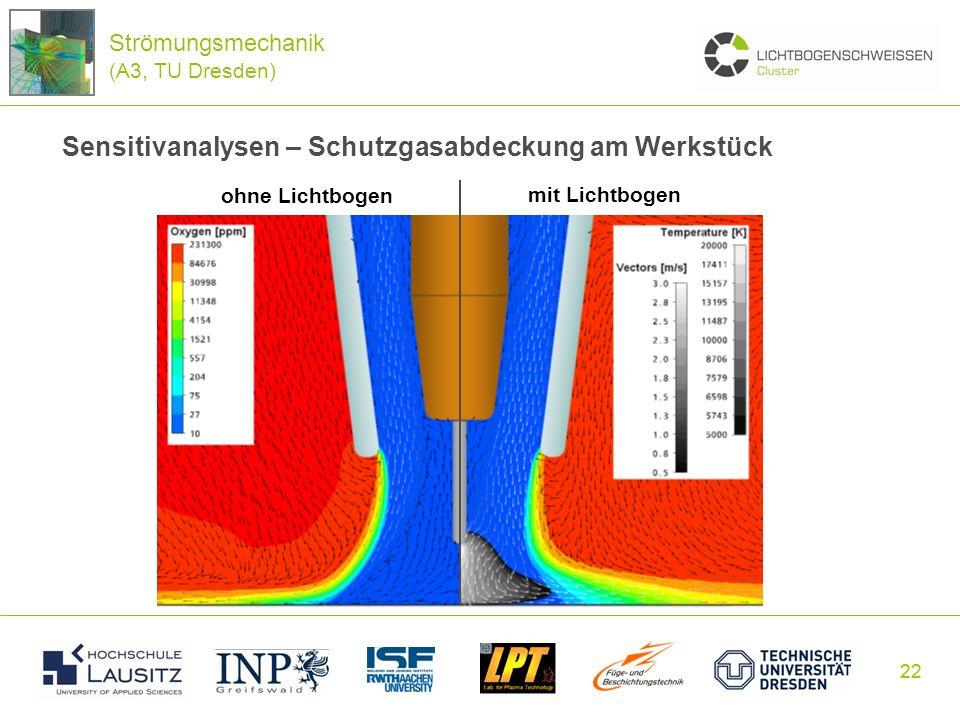 22 Sensitivanalysen – Schutzgasabdeckung am Werkstück Strömungsmechanik (A3, TU Dresden) ohne Lichtbogen mit Lichtbogen