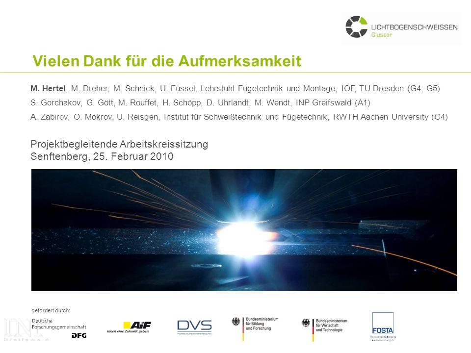 gefördert durch: Vielen Dank für die Aufmerksamkeit Projektbegleitende Arbeitskreissitzung Senftenberg, 25. Februar 2010 M. Hertel, M. Dreher, M. Schn