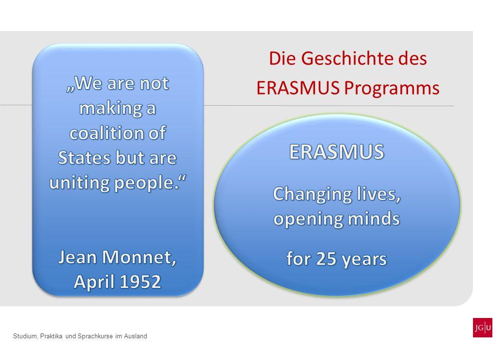 Studium, Praktika und Sprachkurse im Ausland Die Geschichte des ERASMUS Programms