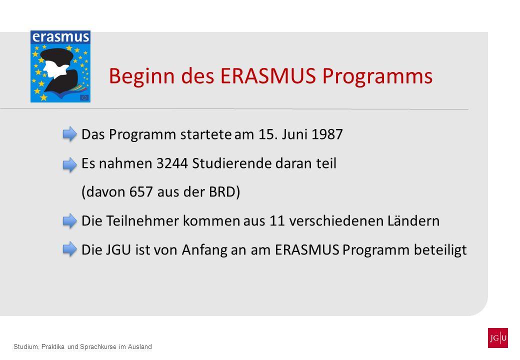 Studium, Praktika und Sprachkurse im Ausland Beginn des ERASMUS Programms Das Programm startete am 15. Juni 1987 Es nahmen 3244 Studierende daran teil