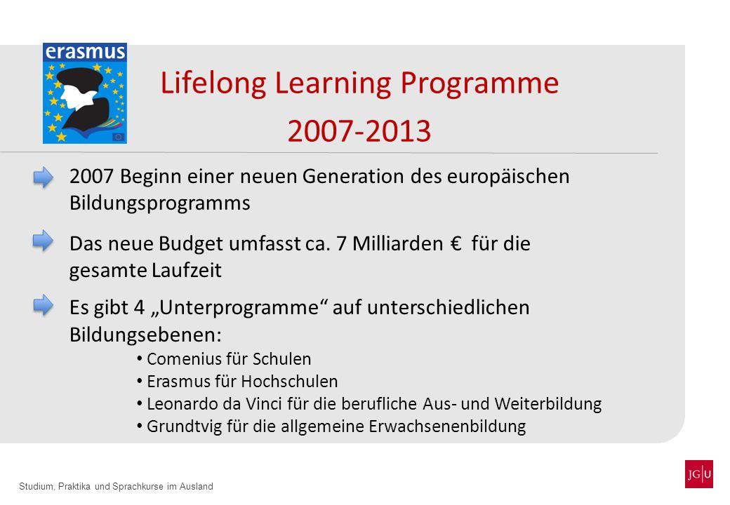Studium, Praktika und Sprachkurse im Ausland Lifelong Learning Programme 2007-2013 2007 Beginn einer neuen Generation des europäischen Bildungsprogram
