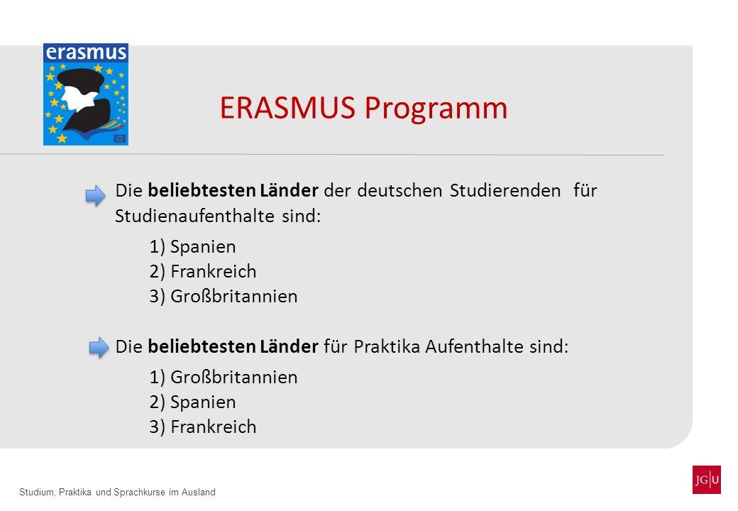 Studium, Praktika und Sprachkurse im Ausland ERASMUS Programm Die beliebtesten Länder der deutschen Studierenden für Studienaufenthalte sind: 1) Spani