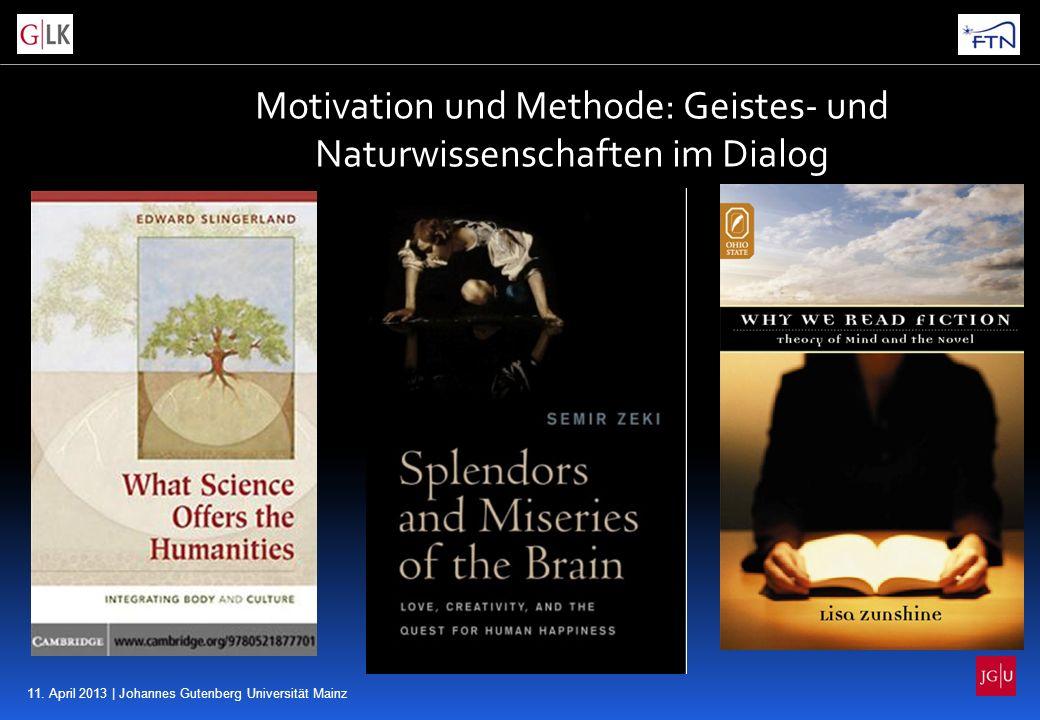11. April 2013 | Johannes Gutenberg Universität Mainz Motivation und Methode: Geistes- und Naturwissenschaften im Dialog