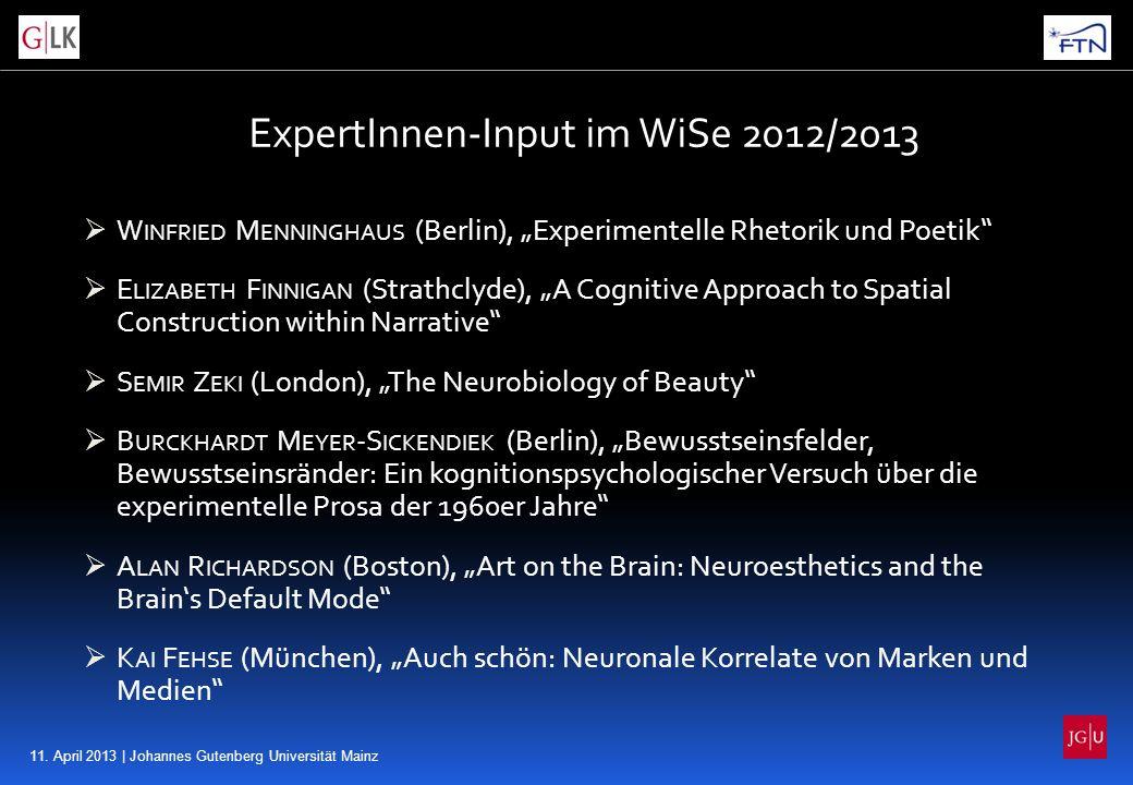 11. April 2013 | Johannes Gutenberg Universität Mainz ExpertInnen-Input im WiSe 2012/2013 W INFRIED M ENNINGHAUS (Berlin), Experimentelle Rhetorik und