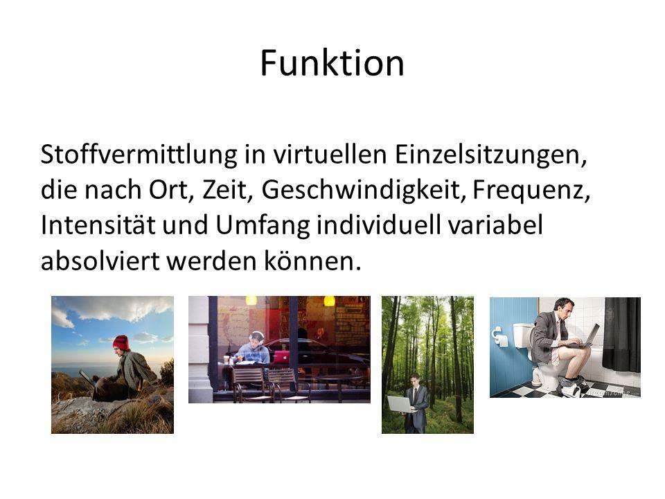 Funktion Stoffvermittlung in virtuellen Einzelsitzungen, die nach Ort, Zeit, Geschwindigkeit, Frequenz, Intensität und Umfang individuell variabel absolviert werden können.