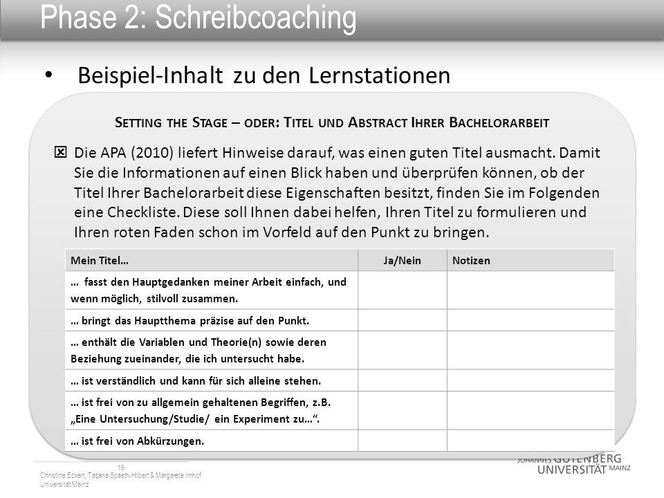 Phase 2: Schreibcoaching Beispiel-Inhalt zu den Lernstationen 16 Christine Eckert, Tatjana Spaeth-Hilbert & Margarete Imhof Universität Mainz S ETTING