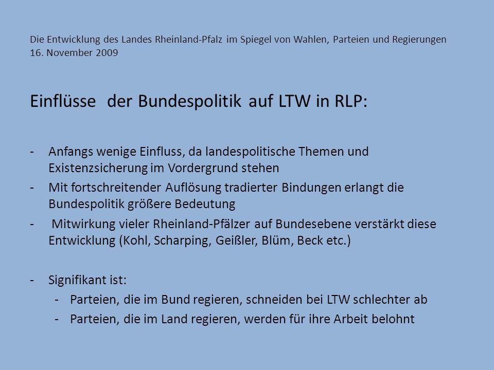 Die Entwicklung des Landes Rheinland-Pfalz im Spiegel von Wahlen, Parteien und Regierungen 16. November 2009 Einflüsse der Bundespolitik auf LTW in RL