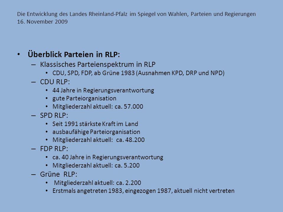 Die Entwicklung des Landes Rheinland-Pfalz im Spiegel von Wahlen, Parteien und Regierungen 16. November 2009 Überblick Parteien in RLP: – Klassisches