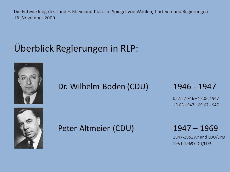 Die Entwicklung des Landes Rheinland-Pfalz im Spiegel von Wahlen, Parteien und Regierungen 16. November 2009 Überblick Regierungen in RLP: Dr. Wilhelm