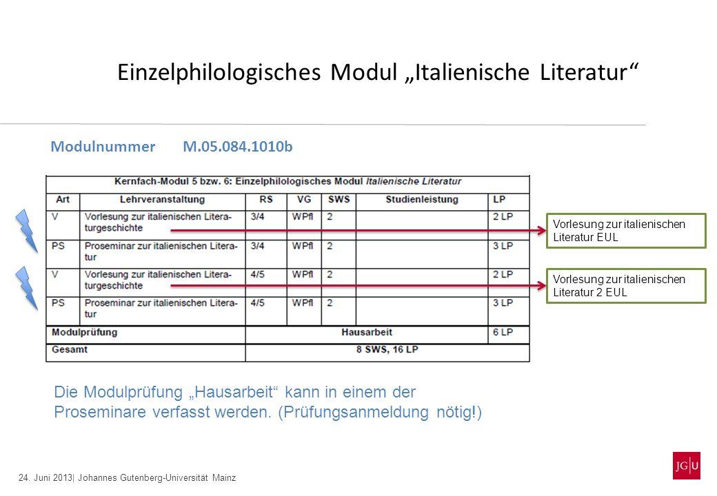 24. Juni 2013| Johannes Gutenberg-Universität Mainz Einzelphilologisches Modul Italienische Literatur ModulnummerM.05.084.1010b Die Modulprüfung Hausa