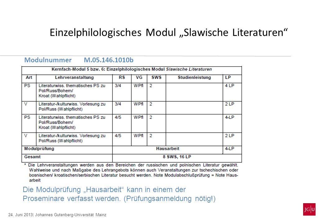 24. Juni 2013| Johannes Gutenberg-Universität Mainz Einzelphilologisches Modul Slawische Literaturen ModulnummerM.05.146.1010b Die Modulprüfung Hausar