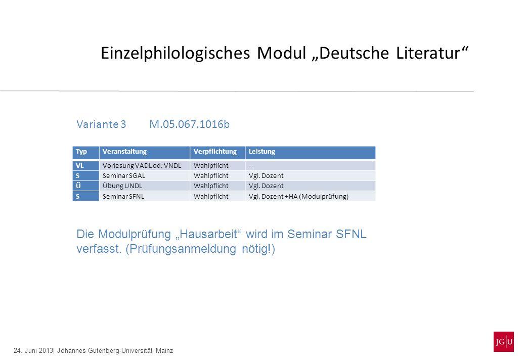 24. Juni 2013| Johannes Gutenberg-Universität Mainz Einzelphilologisches Modul Deutsche Literatur TypVeranstaltungVerpflichtungLeistung VLVorlesung VA