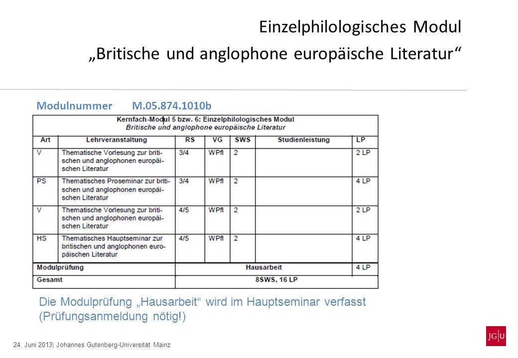 24. Juni 2013| Johannes Gutenberg-Universität Mainz Einzelphilologisches Modul Britische und anglophone europäische Literatur ModulnummerM.05.874.1010