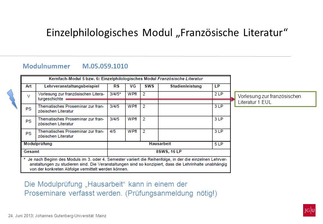 24. Juni 2013| Johannes Gutenberg-Universität Mainz Einzelphilologisches Modul Französische Literatur ModulnummerM.05.059.1010 Die Modulprüfung Hausar