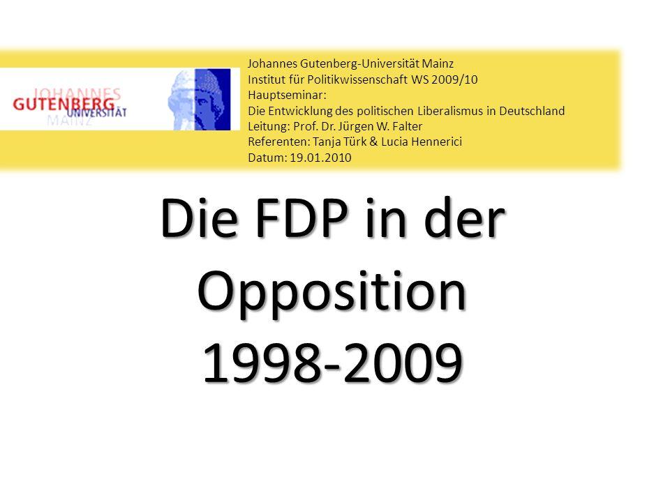 Die FDP in der Opposition 1998-2009 Johannes Gutenberg-Universität Mainz Institut für Politikwissenschaft WS 2009/10 Hauptseminar: Die Entwicklung des