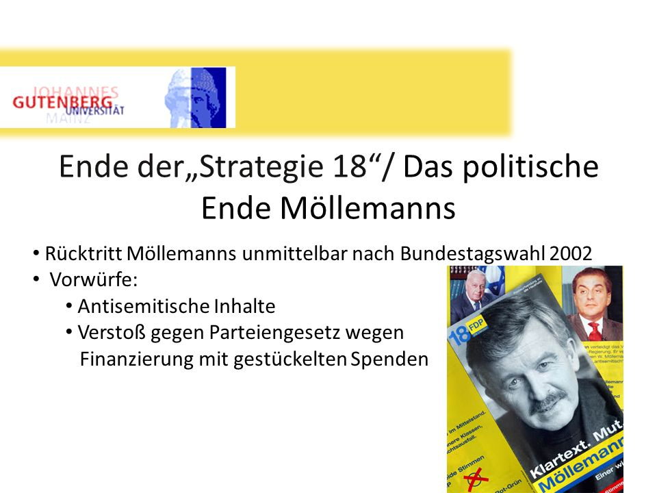 Ende derStrategie 18/ Das politische Ende Möllemanns Rücktritt Möllemanns unmittelbar nach Bundestagswahl 2002 Vorwürfe: Antisemitische Inhalte Versto