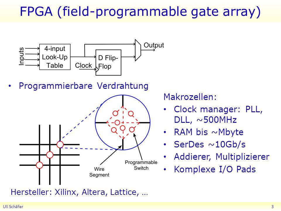 FPGA (field-programmable gate array) Programmierbare Verdrahtung Uli Schäfer 3 Hersteller: Xilinx, Altera, Lattice, … Makrozellen: Clock manager: PLL, DLL, ~500MHz RAM bis ~Mbyte SerDes ~10Gb/s Addierer, Multiplizierer Komplexe I/O Pads
