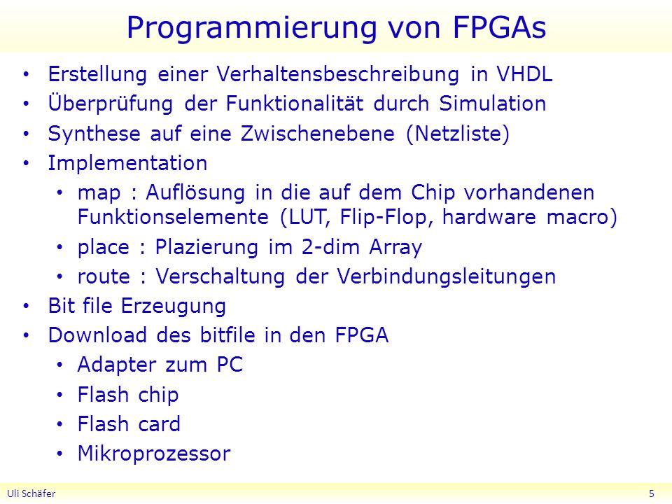 Programmierung von FPGAs Erstellung einer Verhaltensbeschreibung in VHDL Überprüfung der Funktionalität durch Simulation Synthese auf eine Zwischenebene (Netzliste) Implementation map : Auflösung in die auf dem Chip vorhandenen Funktionselemente (LUT, Flip-Flop, hardware macro) place : Plazierung im 2-dim Array route : Verschaltung der Verbindungsleitungen Bit file Erzeugung Download des bitfile in den FPGA Adapter zum PC Flash chip Flash card Mikroprozessor Uli Schäfer 5