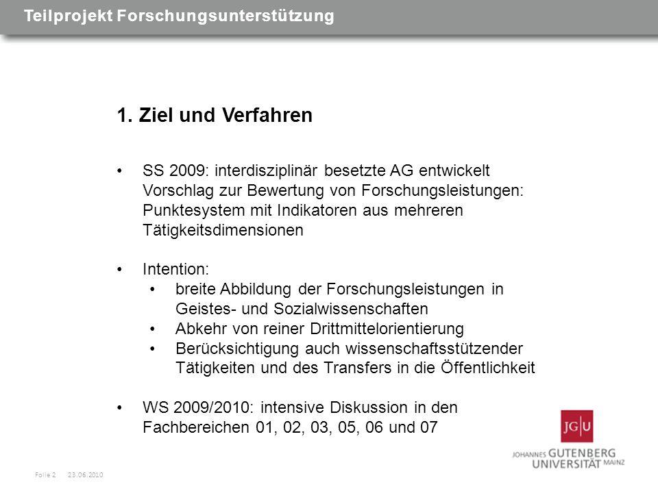 1. Ziel und Verfahren SS 2009: interdisziplinär besetzte AG entwickelt Vorschlag zur Bewertung von Forschungsleistungen: Punktesystem mit Indikatoren
