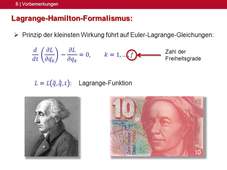 8 | Vorbemerkungen Lagrange-Hamilton-Formalismus: Prinzip der kleinsten Wirkung führt auf Euler-Lagrange-Gleichungen: Zahl der Freiheitsgrade