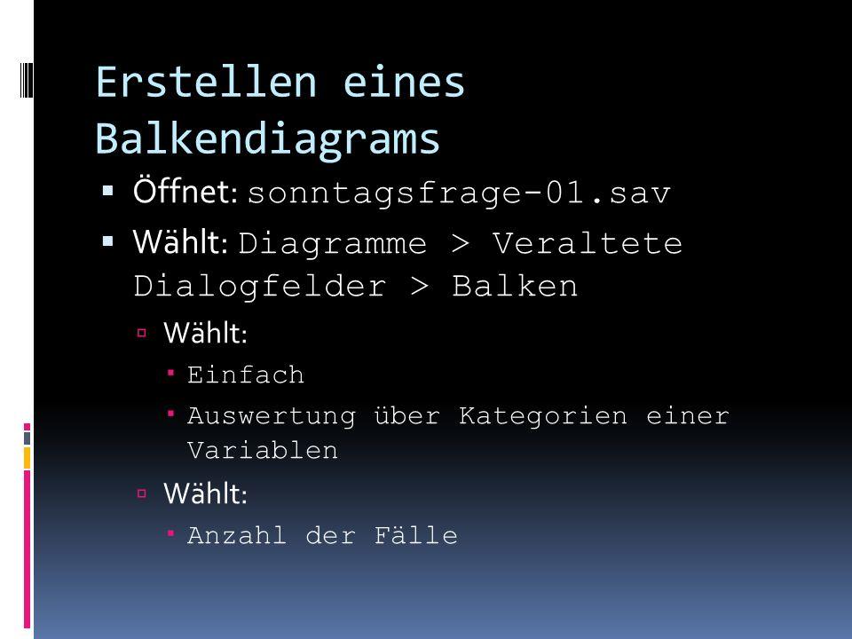 Erstellen eines Balkendiagrams Öffnet: sonntagsfrage-01.sav Wählt: Diagramme > Veraltete Dialogfelder > Balken Wählt: Einfach Auswertung über Kategori