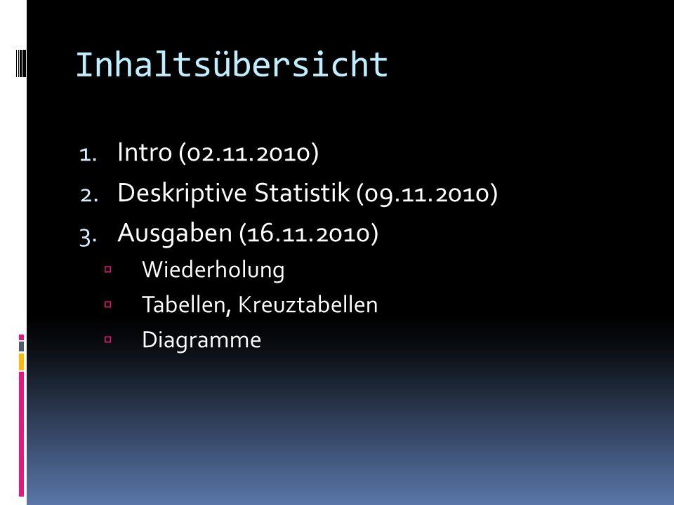 Inhaltsübersicht 1. Intro (02.11.2010) 2. Deskriptive Statistik (09.11.2010) 3. Ausgaben (16.11.2010) Wiederholung Tabellen, Kreuztabellen Diagramme