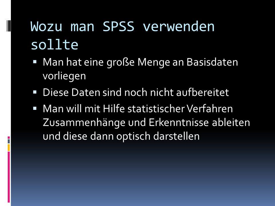 Wozu man SPSS verwenden sollte Man hat eine große Menge an Basisdaten vorliegen Diese Daten sind noch nicht aufbereitet Man will mit Hilfe statistisch