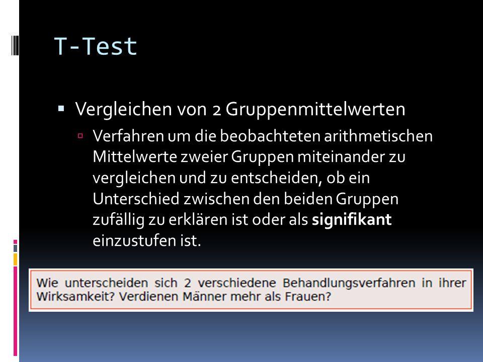 T-Test Vergleichen von 2 Gruppenmittelwerten Verfahren um die beobachteten arithmetischen Mittelwerte zweier Gruppen miteinander zu vergleichen und zu