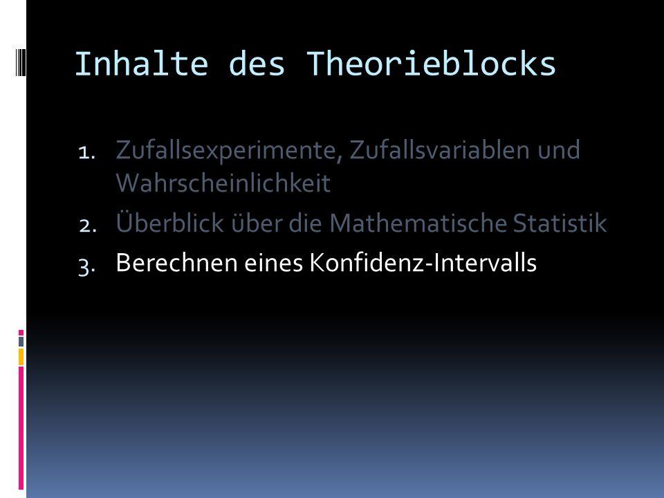 Inhalte des Theorieblocks 1.Zufallsexperimente, Zufallsvariablen und Wahrscheinlichkeit 2.