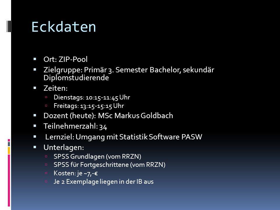Inhaltsübersicht 1.Intro (02.11.2010) Organisatorisches Im Buch SPSS Grundlagen bis S.