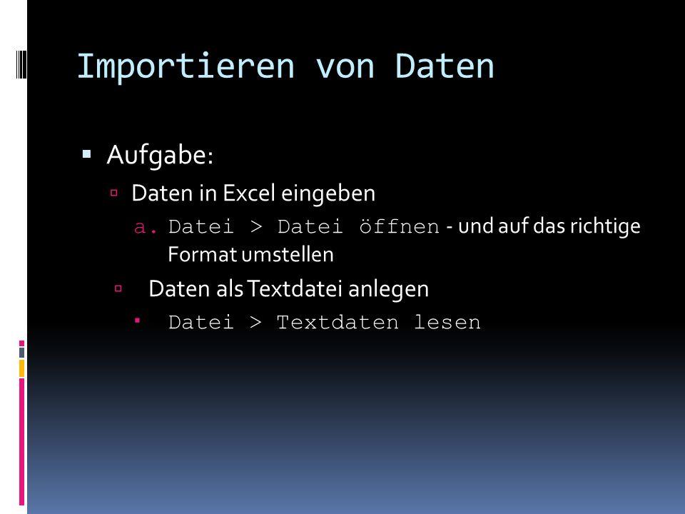 Importieren von Daten Aufgabe: Daten in Excel eingeben a.Datei > Datei öffnen - und auf das richtige Format umstellen Daten als Textdatei anlegen Date