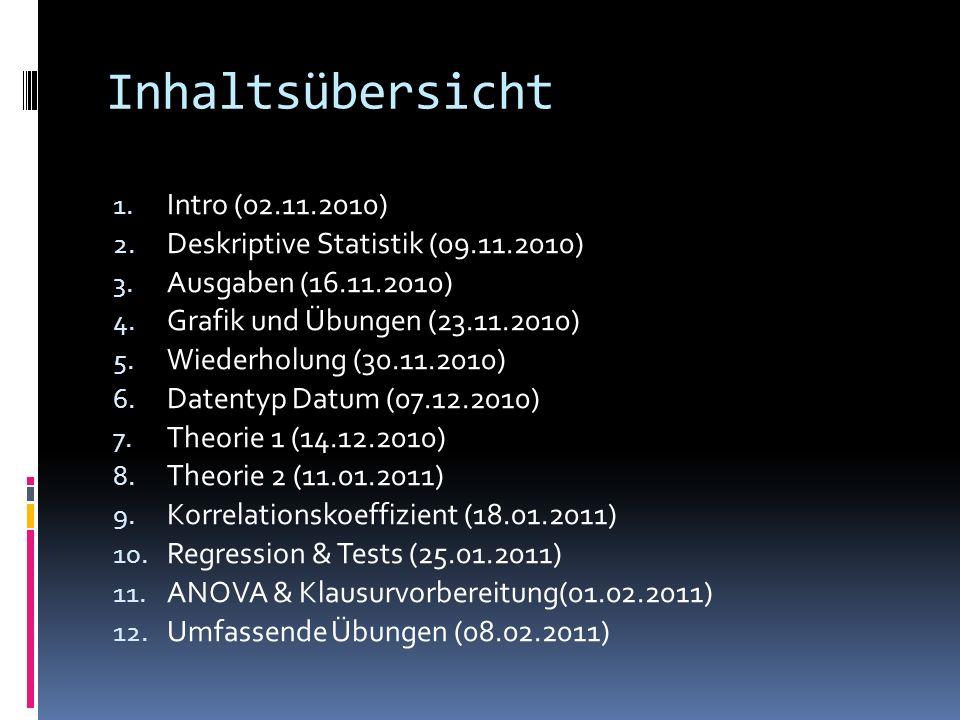 Inhaltsübersicht 1. Intro (02.11.2010) 2. Deskriptive Statistik (09.11.2010) 3. Ausgaben (16.11.2010) 4. Grafik und Übungen (23.11.2010) 5. Wiederholu