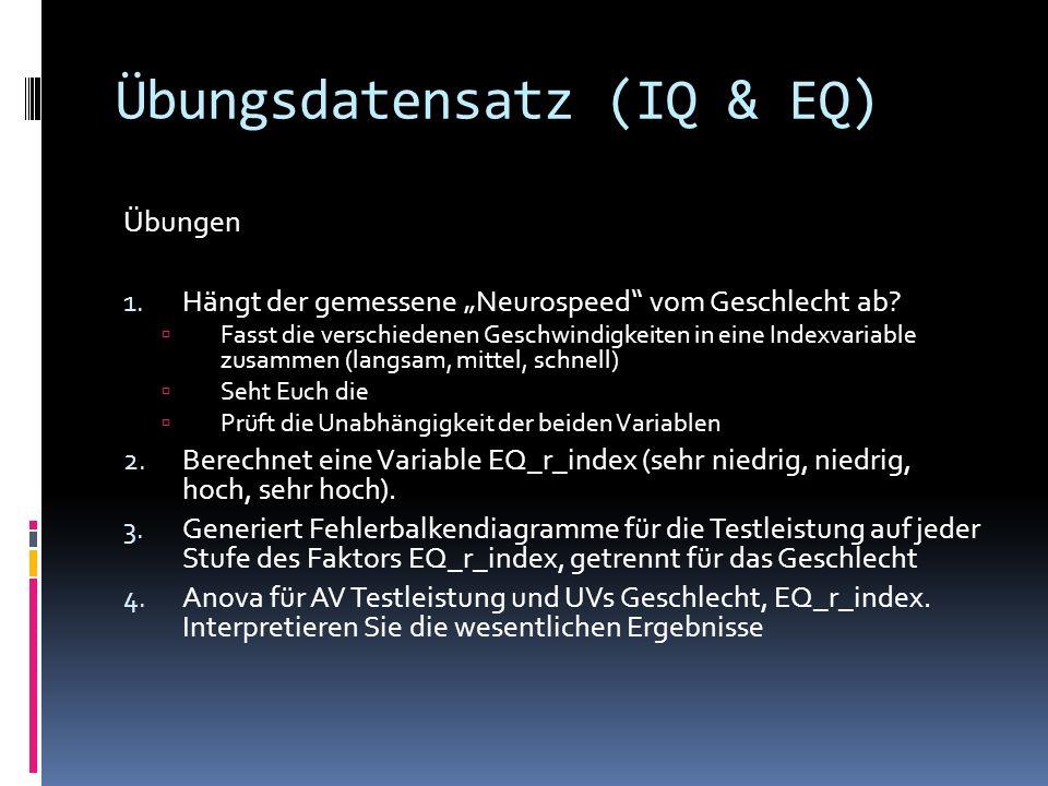 Übungsdatensatz (IQ & EQ) Übungen 1.Hängt der gemessene Neurospeed vom Geschlecht ab.